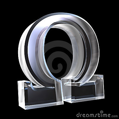 Free Omega Symbol In Glass (3d) Stock Images - 5529554