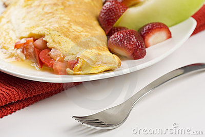 Omelet with Cheese Red Peppers and Tomatoes