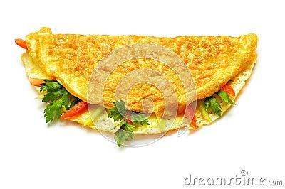 Omelette avec des herbes et des tomates