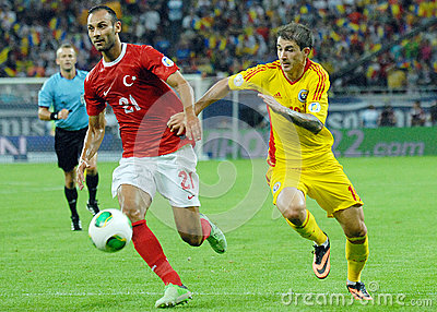 Omer Toprak and Bogdan Stancu players in Romania-Turkey World Cup Qualifier Game Editorial Stock Photo