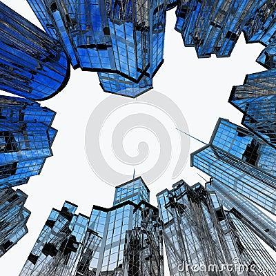 Omge för gata för byggnader modernt