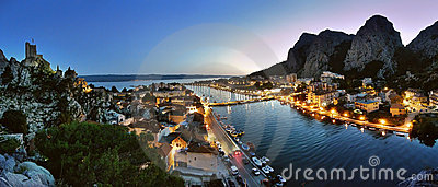 Omis in the twilight Stock Photo