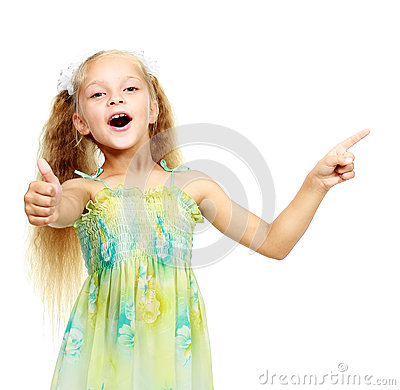 Free On A White Background Little Girl Points A Finger Royalty Free Stock Images - 32566729