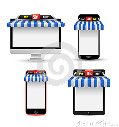 Free On Line Store. Sale, Gadget With Awning Set. Stock Photo - 49836700