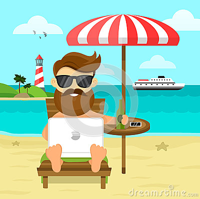 Free On The Beach Freelance Work & Rest Flat  Illustration. Business Man Freelance Remote Working Place Businessman In Stock Photos - 80481023