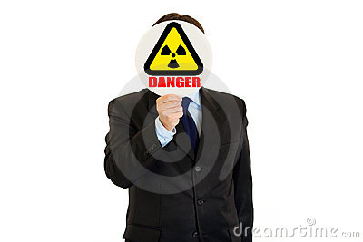 Сoncept-radiation danger! Man with radiation sign