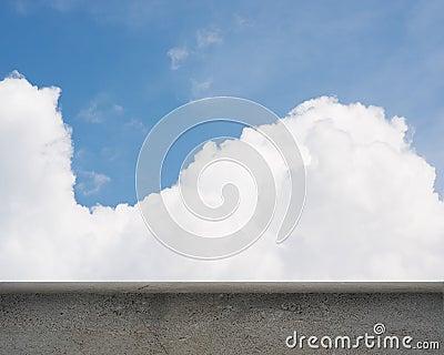 Oncrete parapet and blue sky