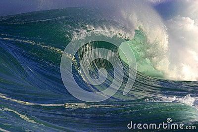 Onda de oceano grande em Havaí