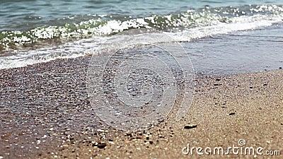 Onda macia do mar no Sandy Beach, dia ensolarado Tiro do close-up, foco seletivo vídeos de arquivo