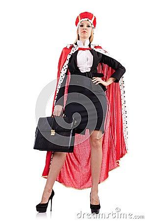 Onderneemster in koninklijk kostuum