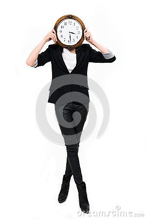 Onderneemster met klok ful hoogte - tijdconcept