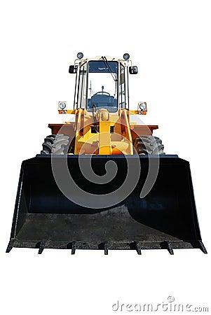 One actual new bulldozer on white