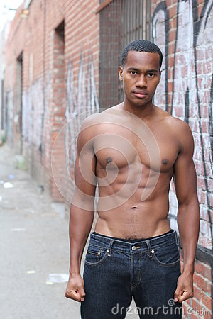 Free One Amazing African Man With Muscular Male Sensual Topless Body With Strong Cool 6 Pack Abdominal And Athletic Chest Stock Images - 74859414