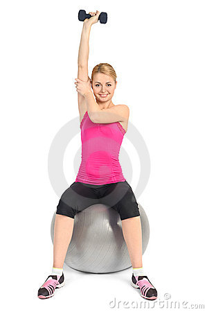 One Arm Triceps Extensions on Fitness Ball