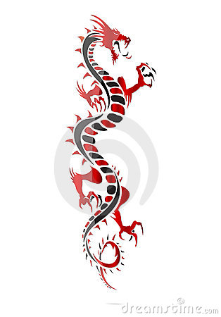 One asia dragon tattoo isolated
