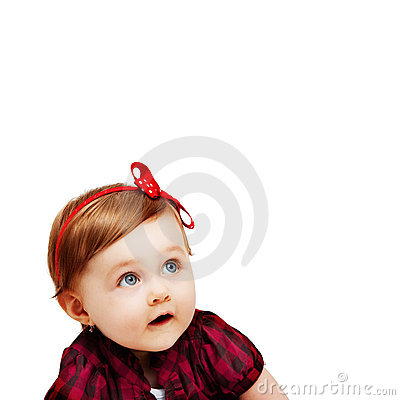 One baby girl isolated on white