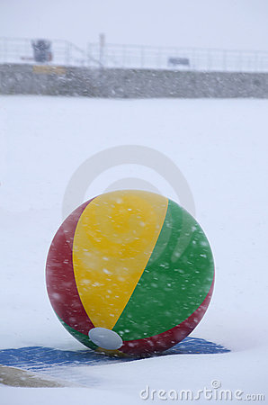 One Beach Ball in Snow