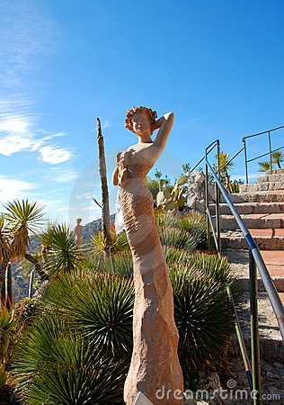 One of the beautiful women  statues in Eze garden
