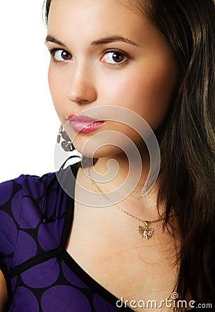 One beautiful young sensual cute woman