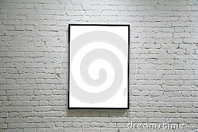 One black frame on white brick wall
