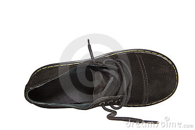 One black shoe with clipping path