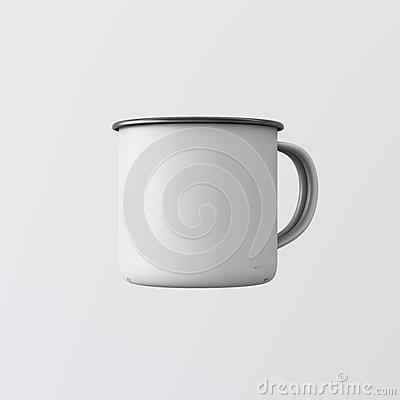 Free One Blank White Color Metal Coffee Mug Isolated Empty Background. Clean Enamel Cup Mockup Ready Corporate Design Message Stock Images - 76810214