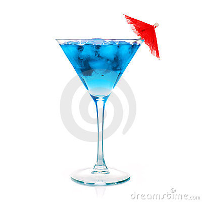 Free One Blue Cocktail Martini Stock Photography - 23633132