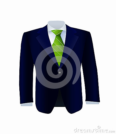 Isolated blue costume with green tie