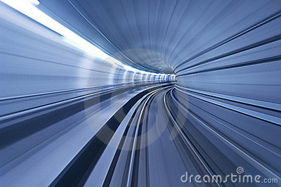 One blue tunnel in high speed