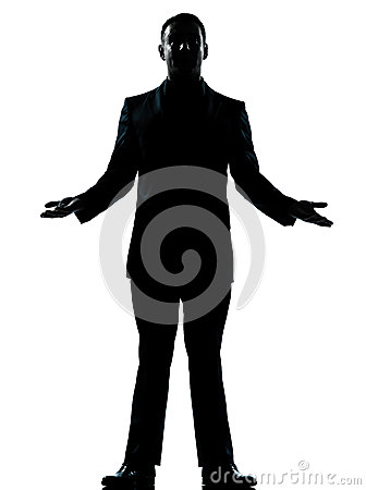 One business man arms outstreched silhouette