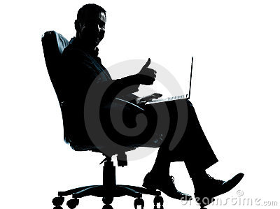 One business man computer  thumb up sitting