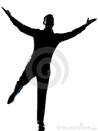 One business man happy spreading arms silhouette