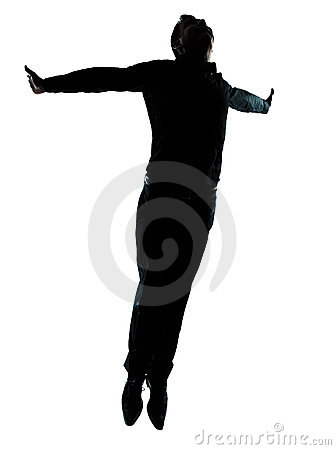 Free One Business Man Jumping Flying Silhouette Stock Images - 22651064