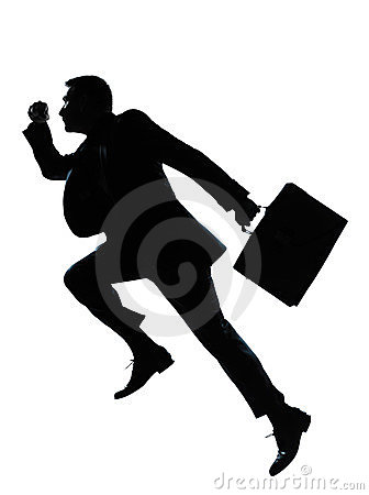 Free One Business Man Jumping Running Silhouette Stock Photography - 23923212