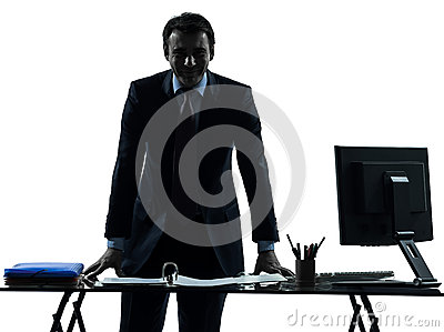 One business man smiling friendly silhouette
