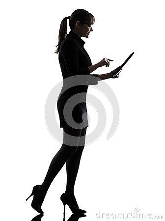 Business woman walking  computer computing  typing digital table