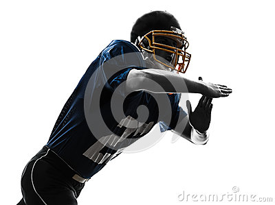 American football player man time out gesture silhouette