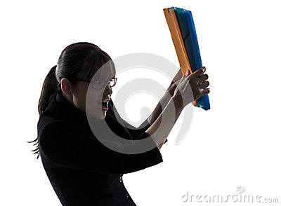Business woman  shielding behind  folders files silhouette