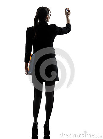 Business woman writing  holding folders files silhouette