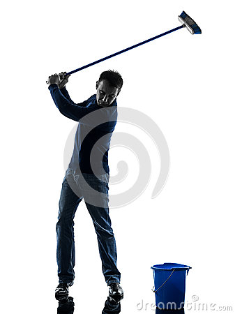 Man janitor brooming cleaner golfing silhouette full length