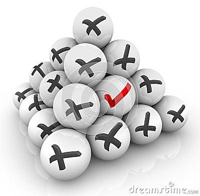 One Check Mark Ball Pyramid X Marks Positive Vs Negative Answer