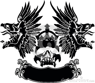 One Color Eagle Wings Skull Symbol