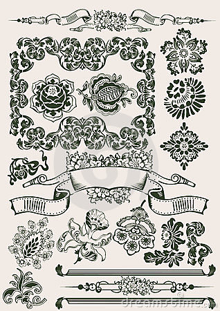 One Color Flowers Vintage Clipart