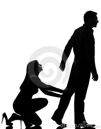 One couple dispute man leaving and woman holding