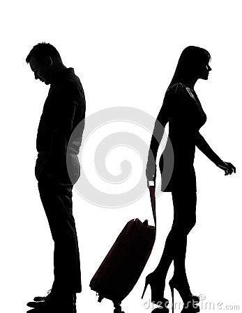 One couple man and woman dispute separation