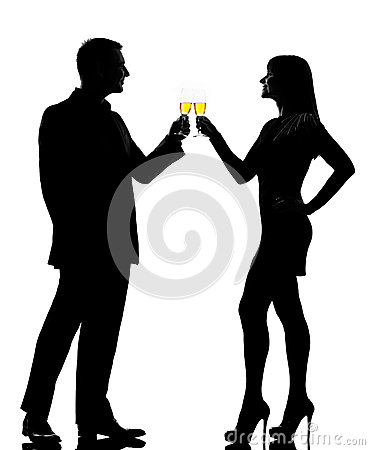 One couple man woman drinking champagne toasting