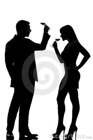 One couple man and woman drinking tasting red wine