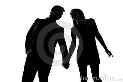 One couple man and woman hand in hand
