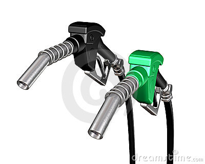 One diesel and one gasoline pump nozzle
