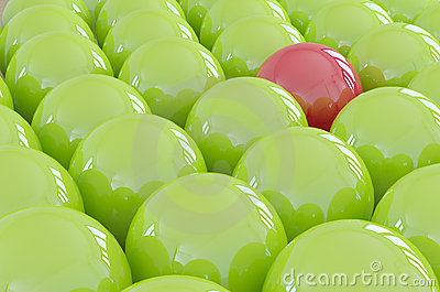 One different ball standing out from the crowd